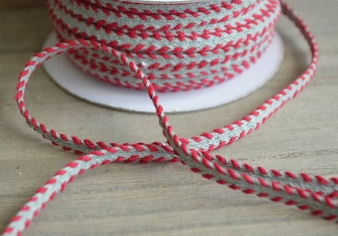 Grey Ribbon with Red Embroidered Finish